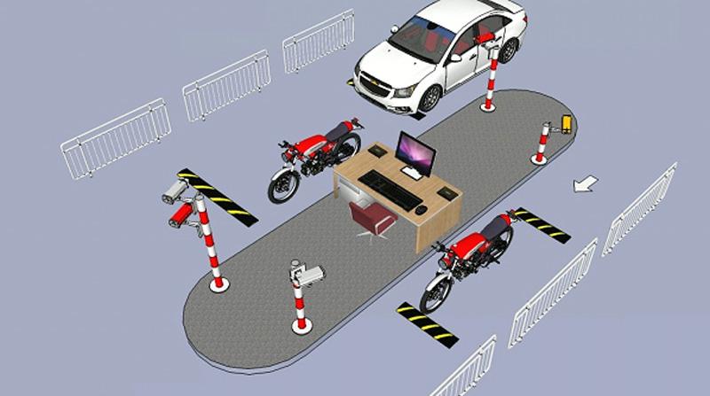 Mô hình quản lý bãi đỗ xe 1 máy 3 làn