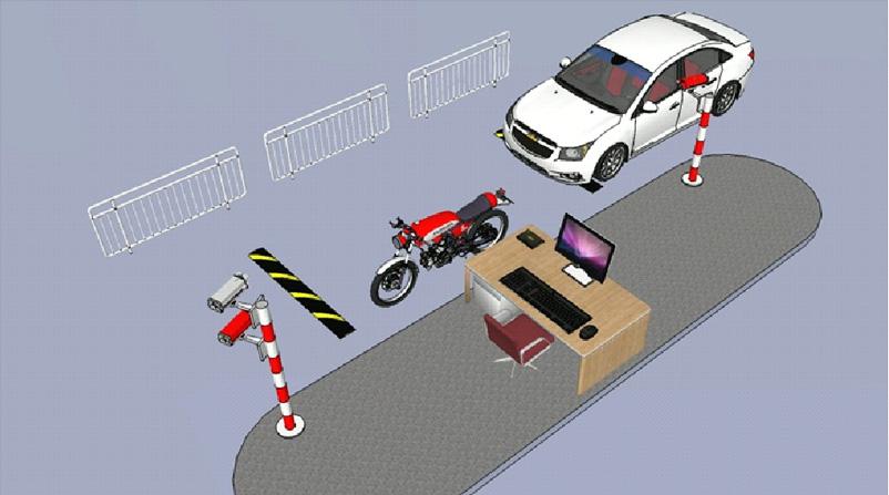 Mô hình quản lý bãi đô xe 1 máy 2 làn