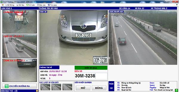 Giao diện phần mềm khi xe vào